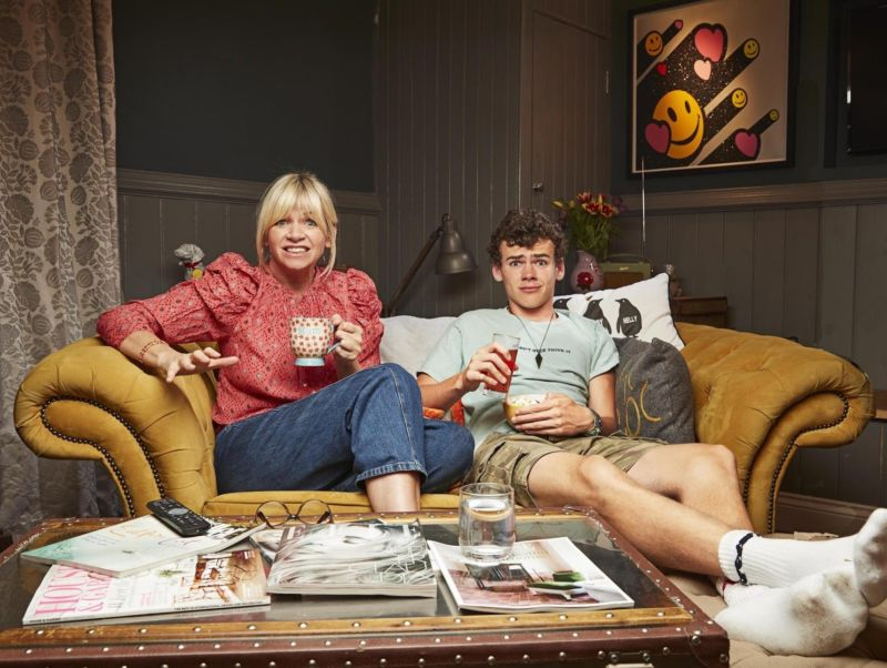 Zoe Ball and her son Woody Cook pictured sat on a sofa for TV show: Gogglebox